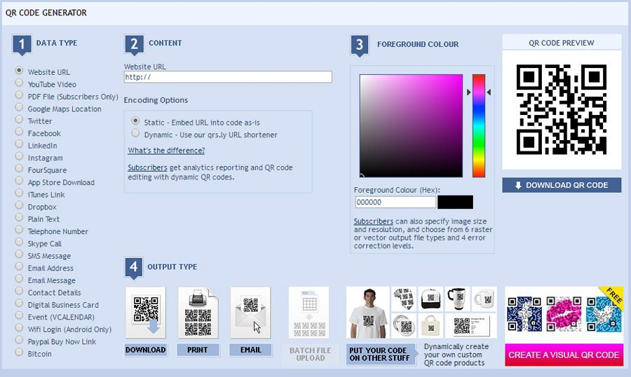 QR Stuff website helps to generate QR codes for free